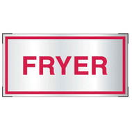 Photograph of the Aluminum fryer sign for cooking system fire control systems.