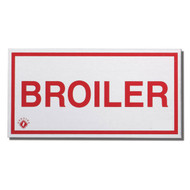 Photograph of the Aluminum broiler sign for cooking system fire control systems.