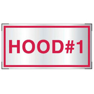 Aluminum Hood #1 sign for cooking system fire control systems