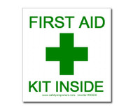 Photograph of the First Aid Kit Inside Label w/ Graphic Cross.