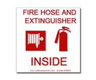 Photograph of the Fire Hose And Extinguisher Inside Label w/ Graphics.