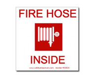 Photograph of the Fire Hose Inside Label w/ Hose Reel Graphic.