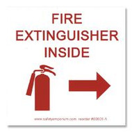 Photograph of the Fire Extinguisher Inside Label w/ Graphic and Right pointing arrow.