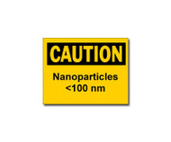 Photograph of the Caution Nanoparticles <100 nm Label.