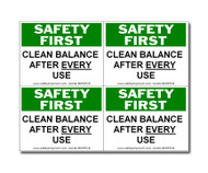 Photograph of the Safety First Clean Balance After Each Use Label, Small, 4 Labels/Card.