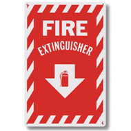 """Picture of a Fire extinguisher sign w/ striping, aluminum, 8""""w x 12""""h aluminum."""