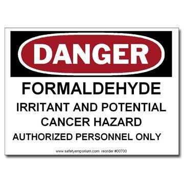 Photograph of the Danger Formaldehyde Irritant And Potential Cancer Hazard, Authorized...Label.