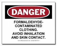 Photograph of the Danger Formaldehyde Contaminated Clothing, Avoid...Label.