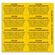 Formaldehyde Warning Labels, Verbose, Card/8 labels