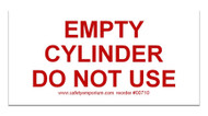 Photograph of the Magnetic Sign - Empty Cylinder Do Not Use.