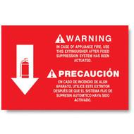 "Bilingual extinguisher sign, wet chemical, kitchen, instructional, 12""w x 8""h vinyl"