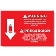 """Picture of a Bilingual extinguisher sign, wet chemical, kitchen, instructional, 12""""w x 8""""h vinyl."""