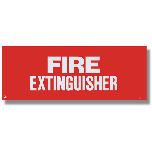 """Picture of a Self-adhesive extinguisher sign, 12"""" w x 4.5"""" h vinyl."""