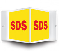 V-shaped yellow sign with red SDS printed on both faces.