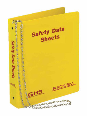 """Photograph of the English GHS Safety Data Sheet 3-Ring Binders w/ 36"""" chain."""