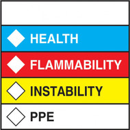 Individual color bar label with space for name, health, flammability, instability, and ppe