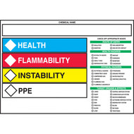 Photograph of the HCMIS Labels w/ Route of Entry, Health Hazard, Physical Hazard, and Target Organ Checkboxes.