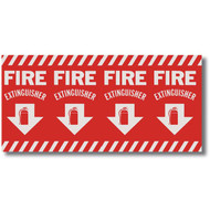 """Picture of an Extinguisher sign, wrap around pole marking, 24.5"""" w x 12.5"""" h vinyl."""