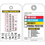 A drawing showing the back (left) and front (right) of a Hazardous Material Information Tag as described in the Product Description on this page.