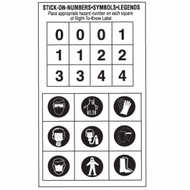 Drawing of page of black and white number and Right to Know stickers.