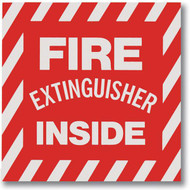 Picture of a Fire Extinguisher Inside self-adhesive label.