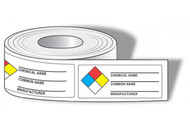 NFPA Chemical Name Labels w/ Common Name and Manufacturer, 500/Roll