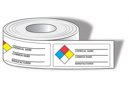 Drawing of roll of NFPA chemical name labels with colored squares and common name and manufacturer.