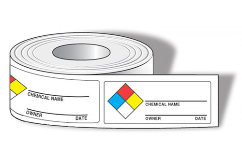 Drawing of roll of NFPA chemical name labels with colored squares and owner and date.