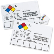 Photograph of blank several write-on fiberglass NFPA signs as described in the Product Description.