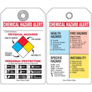 A drawing of both sides of NFPA chemical hazard tag with personal protective equipment checklist and colored squares.