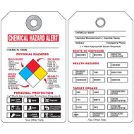 A drawing showing the front and back sides of this NFPA chemical hazard tag as described in the Product Description.