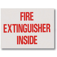 """Picture of a Fire Extinguisher Inside self-adhesive label, red lettering, 4""""w x 3""""h vinyl."""