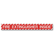 """Picture of a Fire Extinguisher Inside self-adhesive label, wide, 18""""w x 2""""h vinyl."""