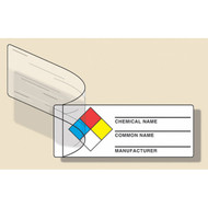 Drawing of NFPA self laminating label with colored boxes, and chemical name, chemical name, and manufacturer designations.