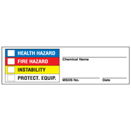 Drawing of super-sticky Right To Know label with colored check-boxes.