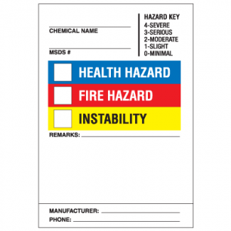 Drawing of super sticky HazCom label with colored check boxes.