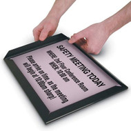 Picture of black plastic snap on frame in use on a sign.