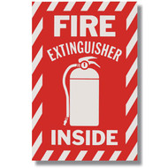 """Picture of a Fire Extinguisher Inside self-adhesive sign w/ icon, 6""""w x 9""""h vinyl."""