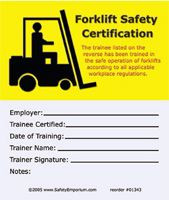 Drawing of both sides of yellow and white forklift safety certification cards with symbol.