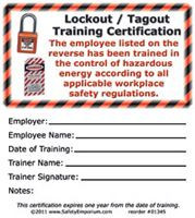 Drawing of both sides of lockout/tagout training certification cards with symbols.
