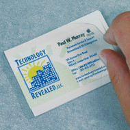 Photograph of self-laminating cover in use on training certification card.