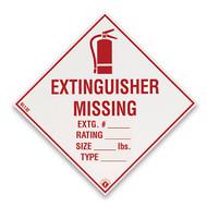 "Extinguisher Missing self-adhesive label w/ icon, 4""w x 4""h vinyl"