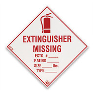 """Picture of an Extinguisher Missing self-adhesive label w/ icon, 4""""w x 4""""h vinyl."""