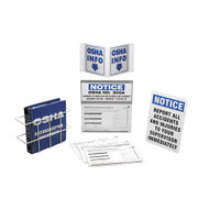 Photograph of information kit including 300 information board, record keeping document binder, wire rack, 3-D sign, notice sign, and OSHA 300 forms.