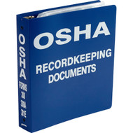 "Blue binder with ""OSHA RECORDKEEPING DOCUMENTS"" printed in white on the front cover and spine."