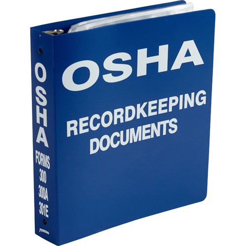 """Blue binder with """"OSHA RECORDKEEPING DOCUMENTS"""" printed in white on the front cover and spine."""