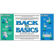 Photograph of Back to Basics living safely vinyl wall graphic with blue and green images.