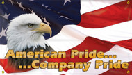 """Picture of the Workplace Safety Banner that features a colorful US flag background, a photographic image of a bald eagle, and wording of """"American Pride... ...Company Pride."""""""