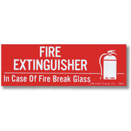 """Picture of a Fire Extinguisher - In Case of Fire Break Glass self-adhesive label w/ icon, 6""""w x 2""""h vinyl."""