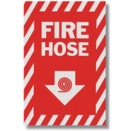 """Picture of a Fire Hose sign w/ arrow and icon, 8""""w x 12""""h vinyl."""